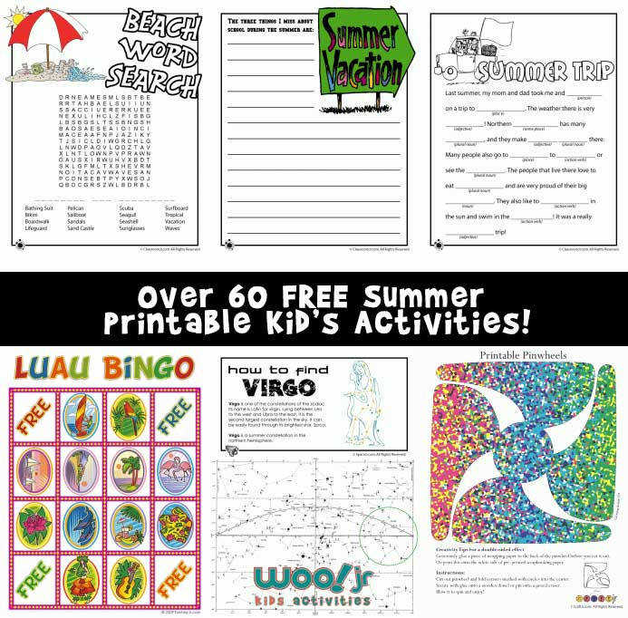 Over 60 Free Summer Printable Activities for Kids of All Ages
