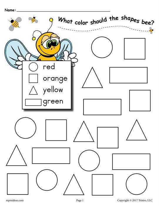 Color the shapes bee worksheet page1