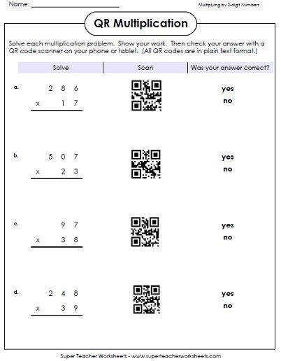 Students can scan the QR codes on these worksheets to view math word problems It s a great way to use iPads in the classroom