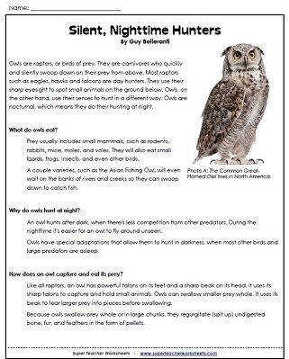 "Owl reading prehension passage with questions ""Silent Nighttime Hunters"" from Super Teacher"