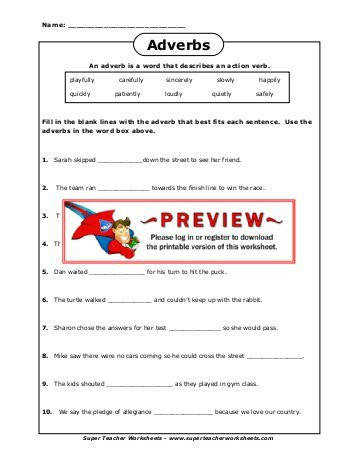 Adverbs Super Teacher Worksheets
