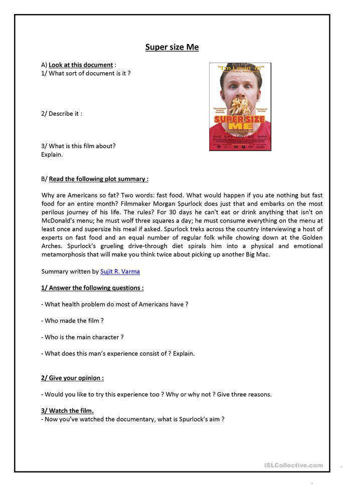 Supersize Me Worksheet Answers Templates and Worksheets
