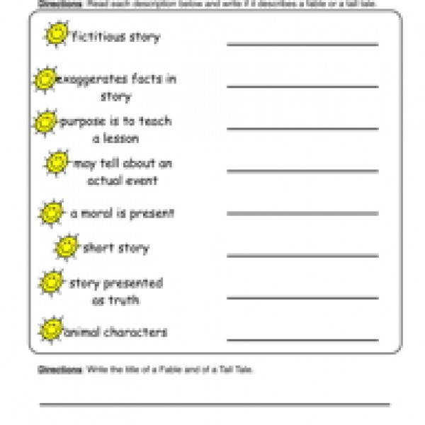 Elements of a StoryWorksheets