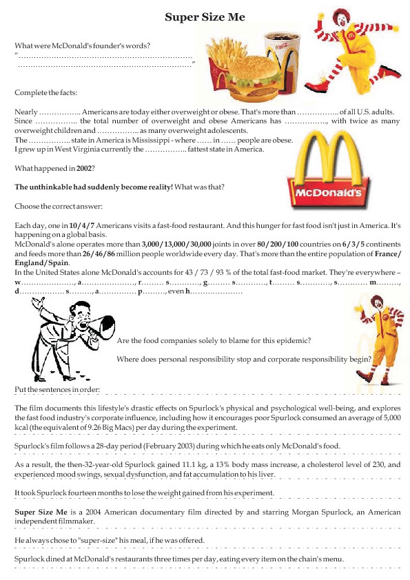 Supersize Me Worksheet