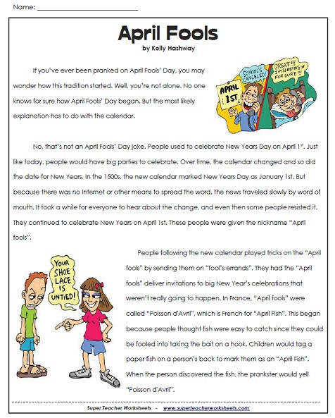 Visit our Reading prehension Worksheets for 5th Grade page to view the entire collection