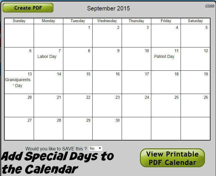 Super Teacher Worksheets fers a Custom Calendar Generator where you can add special days for your