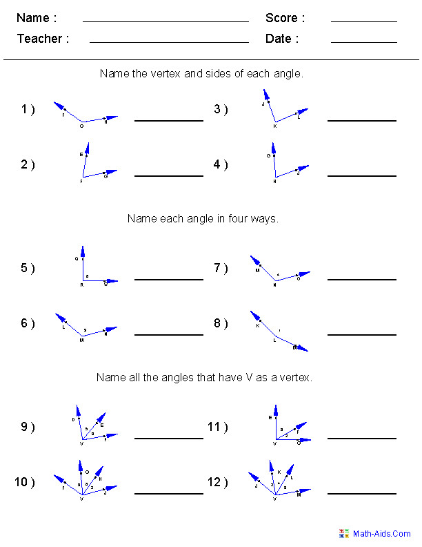Naming Angles Worksheets