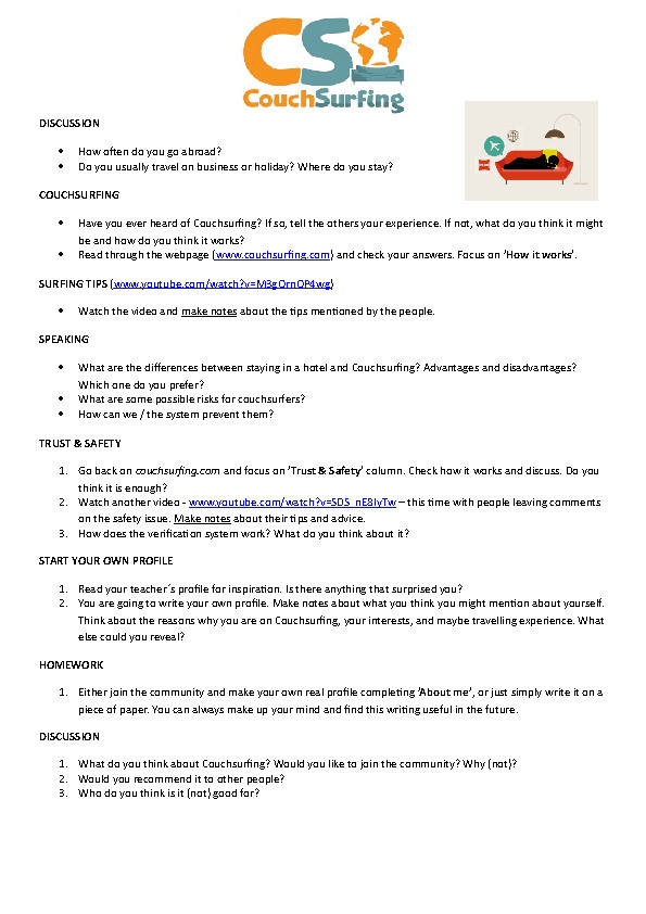 Movie Worksheet Couchsurfing