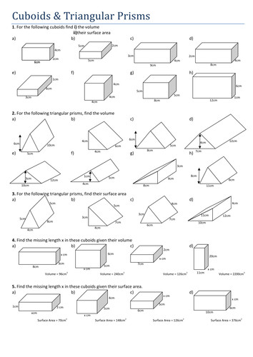 Maths Cuboids and Triangular Prisms by Tristanjones Teaching Resources Tes