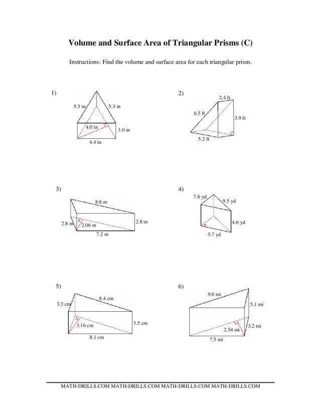 Volume and Surface Area of Triangular Prisms C 6th 10th Grade Volume Worksheets