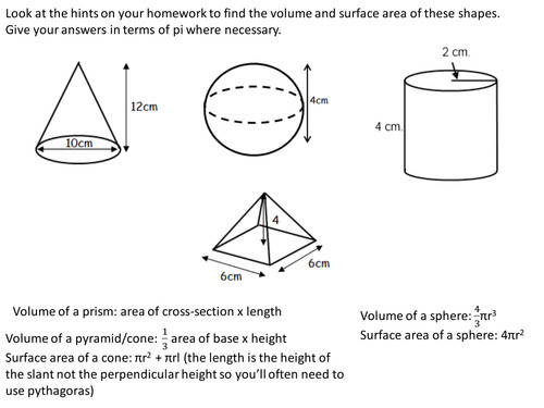 Volume and surface area of spheres pyramids cones and frustrums by lizzyld Teaching Resources Tes