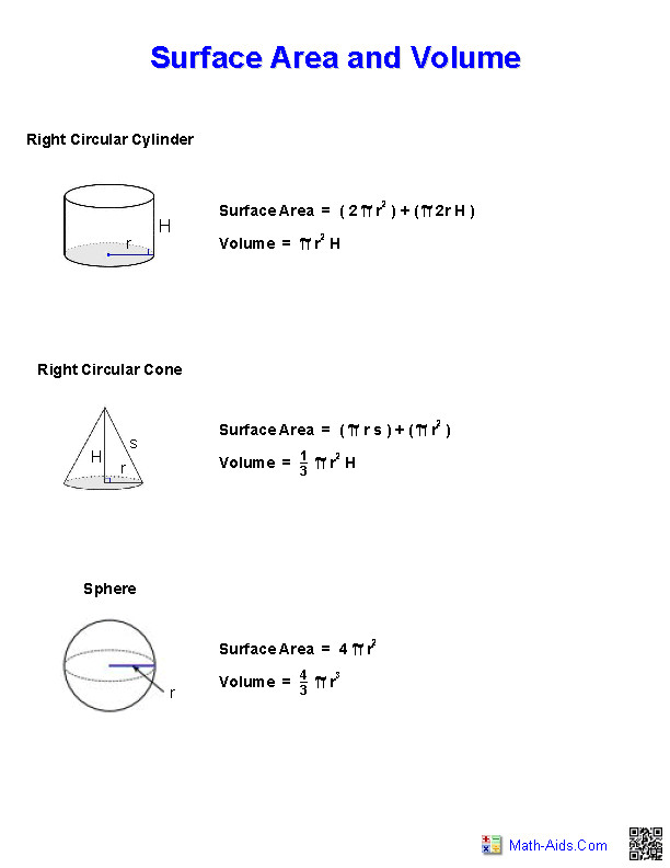Surface Area and Volume Handout