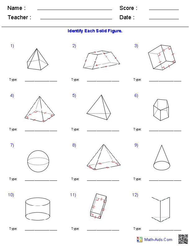 Surface area and Volume Worksheets