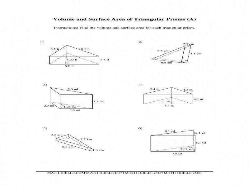 Volume And Surface Area Triangular Prisms A