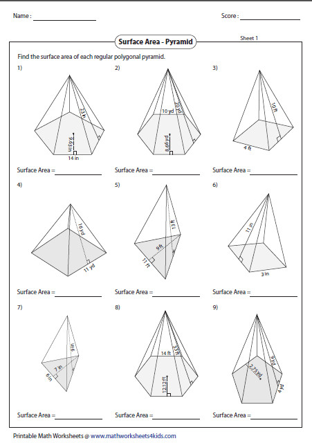 Surface Area of Polygonal Pyramid