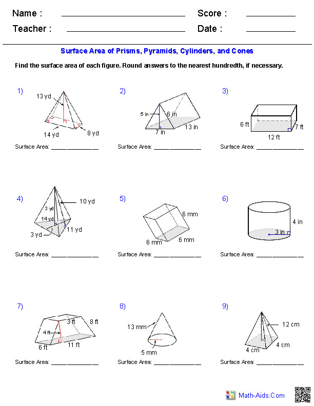 Cylinders & Cones Surface Area Worksheets