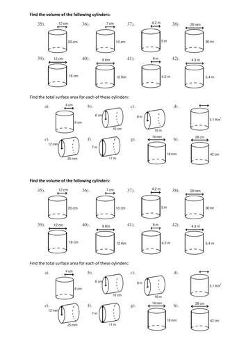 Worksheets Volume Cylinders Worksheet sa and volume of cylinder worksheet delwfg surface area cylinders