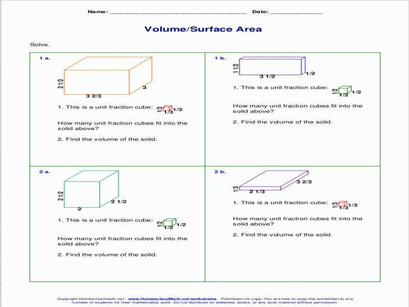 Free Worksheets For The Volume And Surface Area Cubes