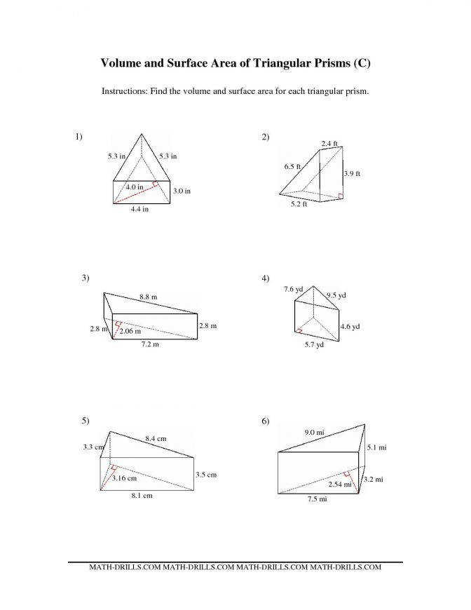 The Volume And Surface Area Triangular Prisms C Math Worksheets A Circle 02be5072c89b0922e9a1da2e1e1 Math Worksheets
