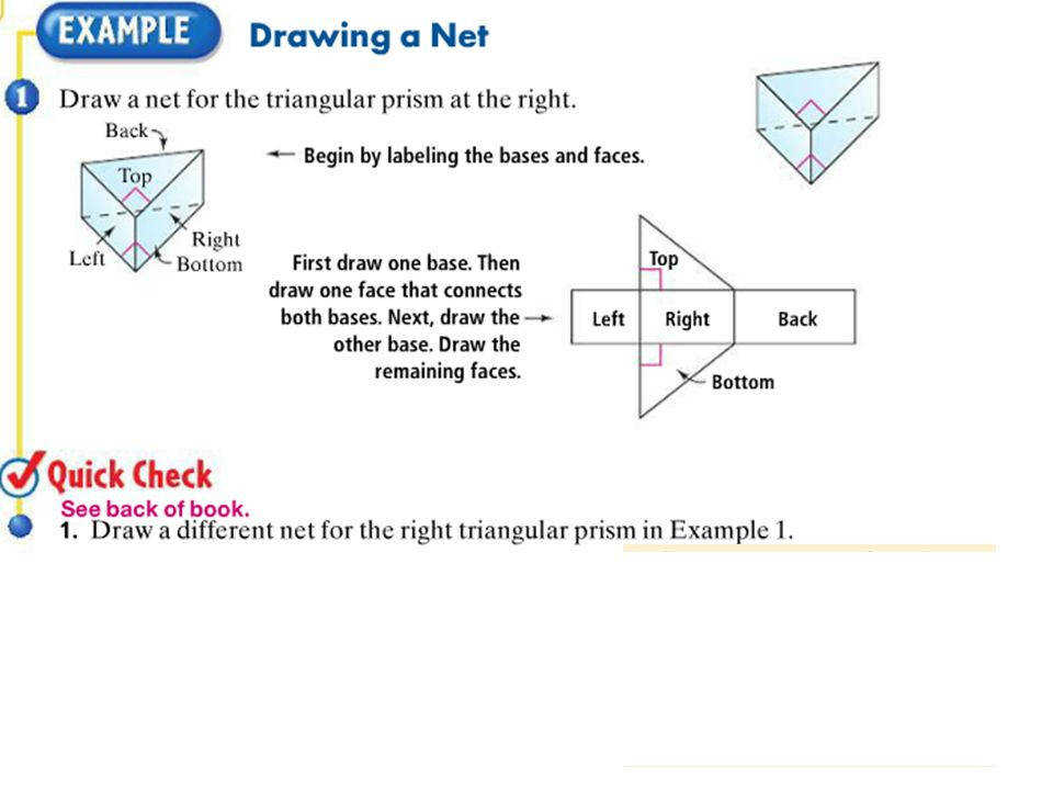 14 Find the surface area of the prism LESSON 7 2 Then find the total area of the five faces top bottom left side front side back side 10 26 10 24