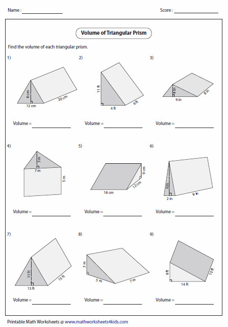 Surface Area Of Prisms And Cylinders Worksheet Homeschooldressage