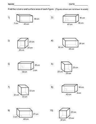 Volume And Surface Area A Rectangular Prism Worksheet