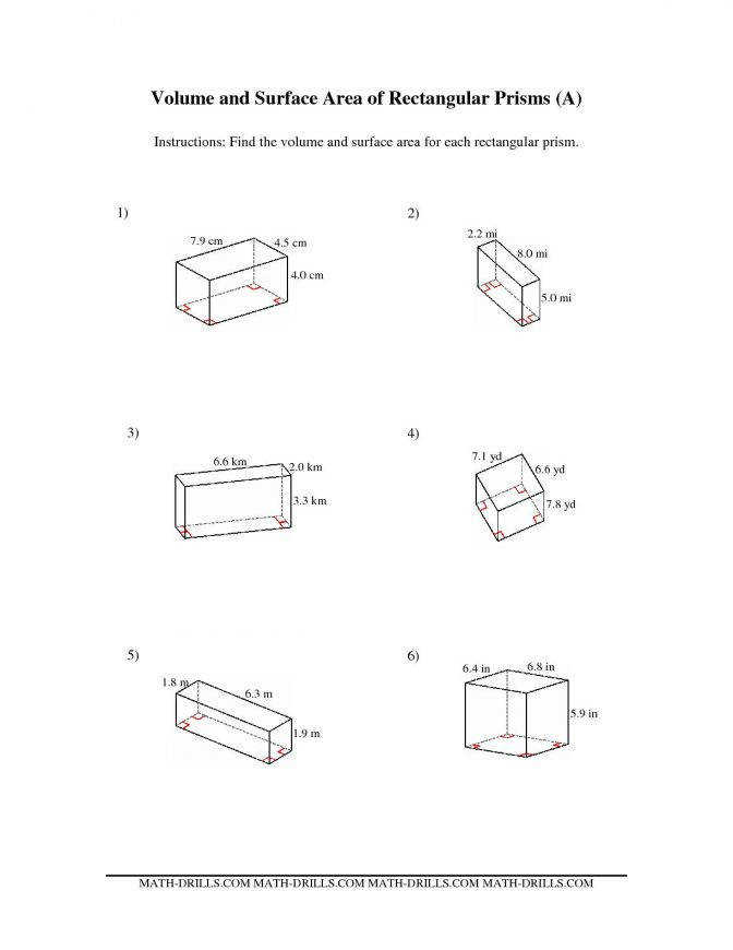 Volume And Surface Area Rectangular Prisms A Math Worksheets Circle Geom Rectangular Prism 00 Math