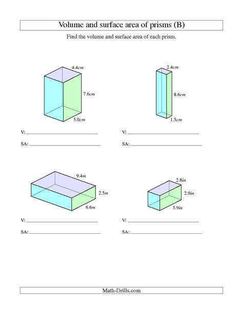 Free worksheets for the volume and surface area of cubes & rectangular prisms Math Geometry Pinterest