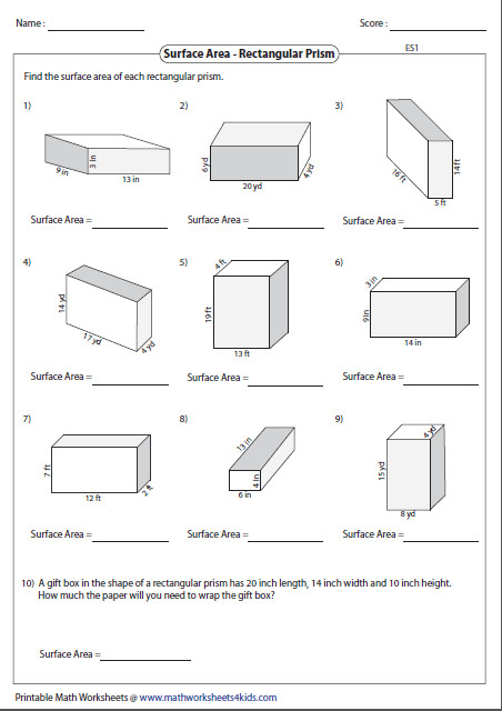 Surface Area Of Rectangular Prism Worksheet Homeschooldressage