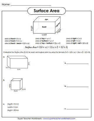 Surface Area Worksheet