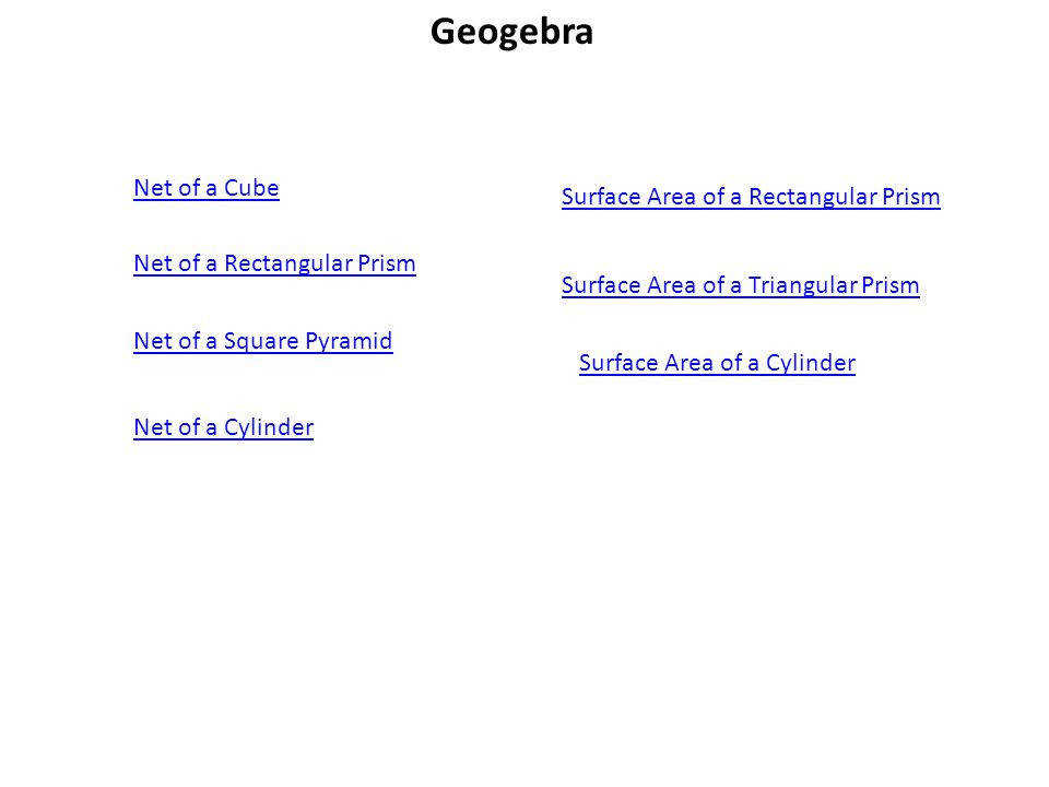 Surface Areas of Prisms and Cylinders 2 Geogebra Net of a Rectangular