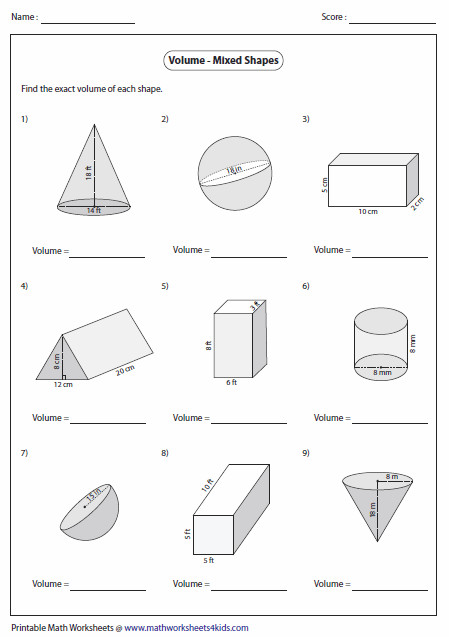 Printables Area And Volume Worksheets volume worksheets of mixed shapes