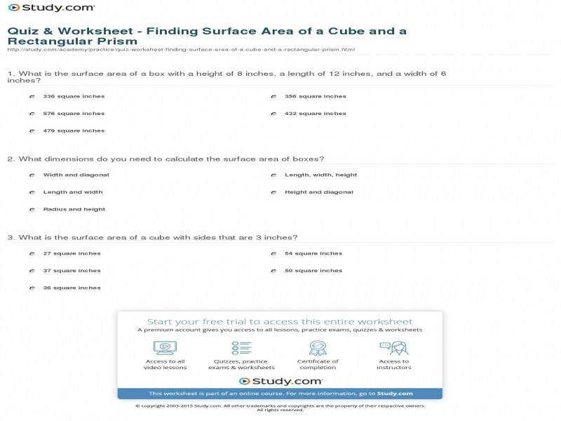 Quiz & Worksheet – Finding Surface Area A Cube