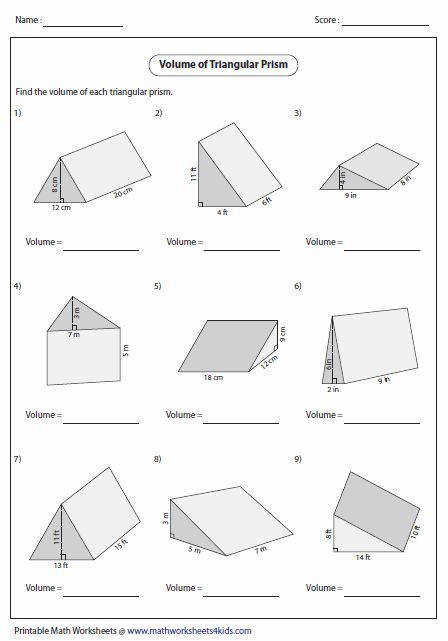 Triangular Prism Surface Area Worksheet Worksheets