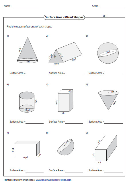 Surface Area of Mixed Shapes