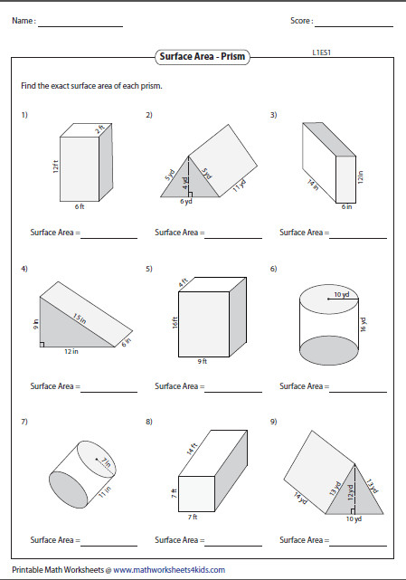 Surface Area of Prisms Level 1