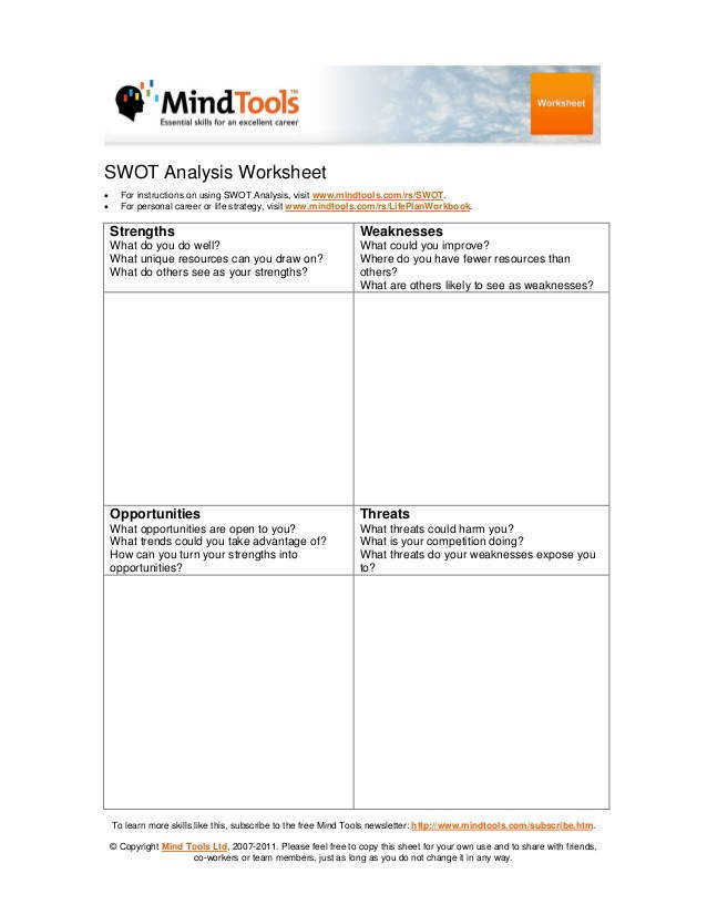 SWOT Analysis Worksheet • • For instructions on using SWOT Analysis visit