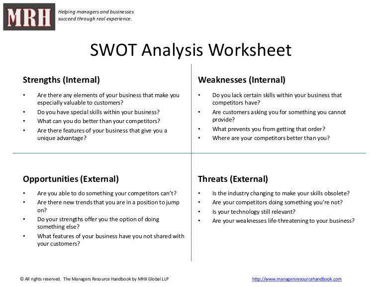swot analysis worksheet swot template with suggested questions