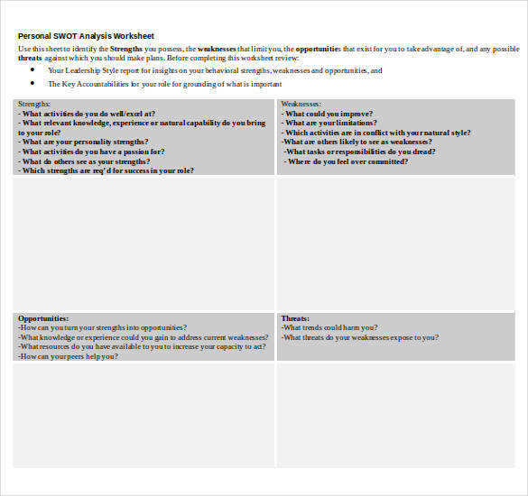 Personal SWOT Analysis Worksheet Word Temlate Download