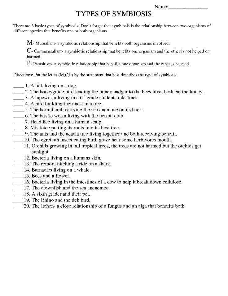 Symbiosis Worksheet Free Printable Worksheets High School Bio Fungi HealthYou