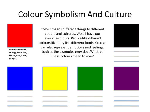 Colour Symbolism Worksheet by Chrissylouisewest Teaching Resources Tes