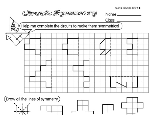 Preview of Circuit Symmetry A year 4 symmetry worksheet