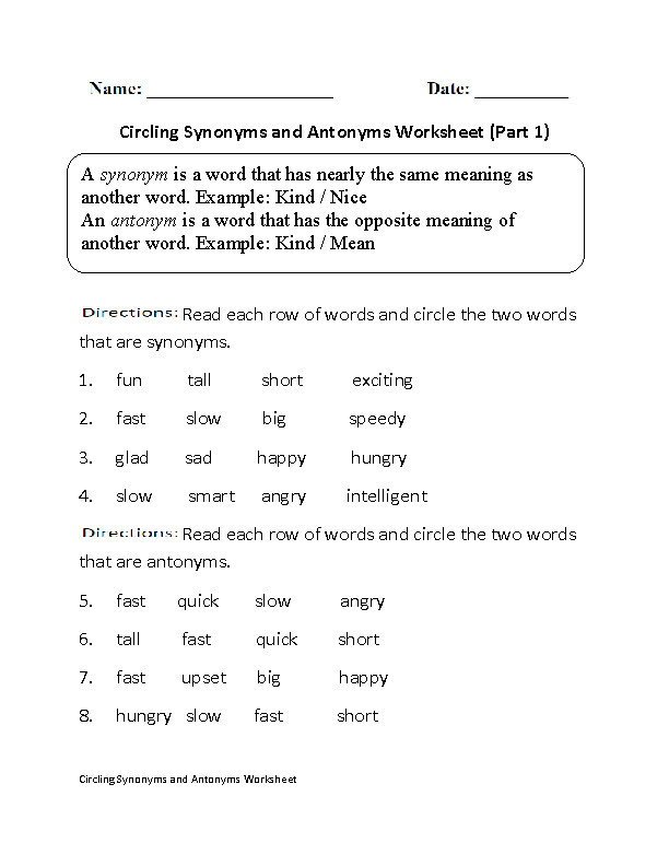 Finding Synonyms and Antonyms Worksheet
