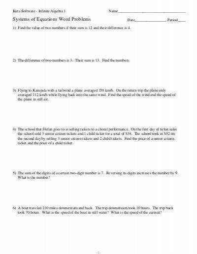 Systems of Equations Word Problems Kuta Software