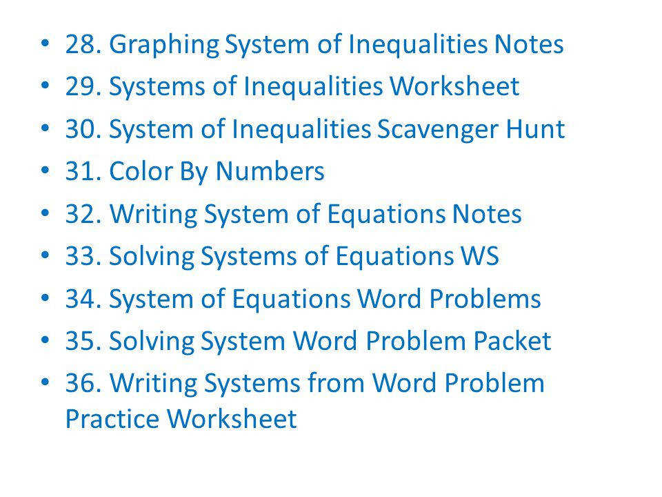 Writing Systems from Word Problem Practice Worksheet 28 Graphing System of Inequalities Notes