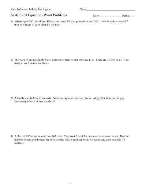Systems of Equations Word Problems 11th Grade Worksheet