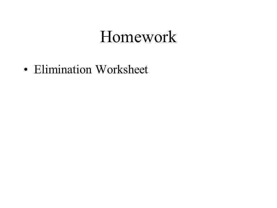 19 Homework Elimination Worksheet