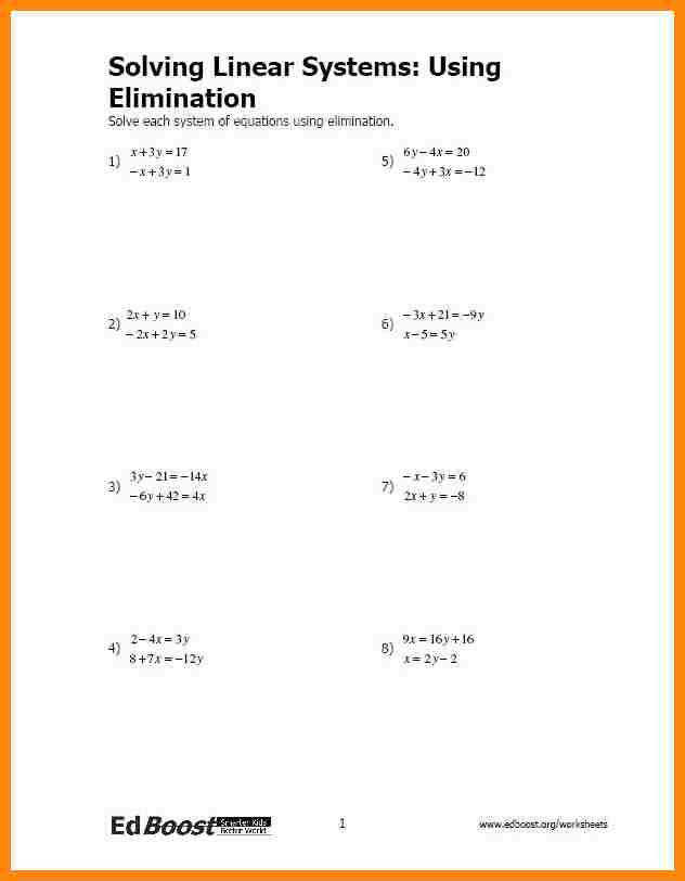 elimination method worksheet Solving Linear Systems by Elimination Pic JPG