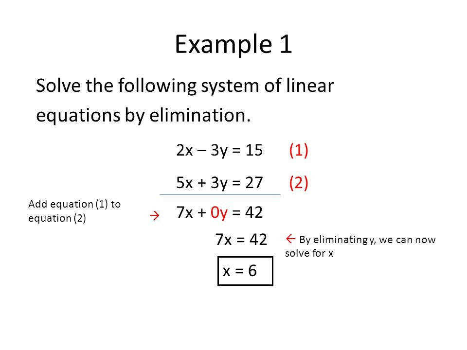 Solving Linear Equations Elimination Example 1 Solve The Following System Concept Marvelous Solving Linear Equations Elimination