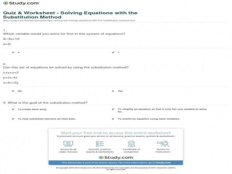 Quiz & Worksheet – Solving Equations With The Substitution Method size 800 x 600 px source study